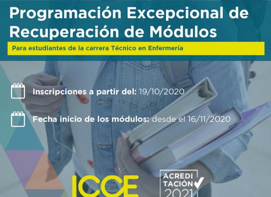 CFT ICCE muestra programa de recuperación de módulos carrera Técnico en Enfermería